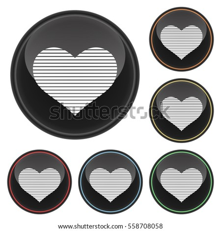 Digital Heart Icon Glossy Button Set in With Various Color Highlights