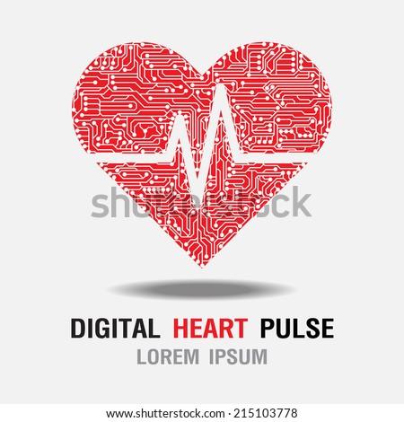 Digital Heart Pulse icon. Difital Heart Rate icon. Vector Illustration  - stock vector