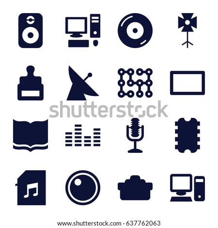 Digital icons set. set of 16 digital filled icons such as satellite, stamp, book, disc on fire, microphone, memory card with music, equalizer, camera lense, soft box, burst