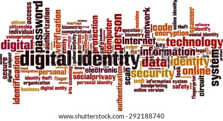 Digital identity word cloud concept. Vector illustration - stock vector