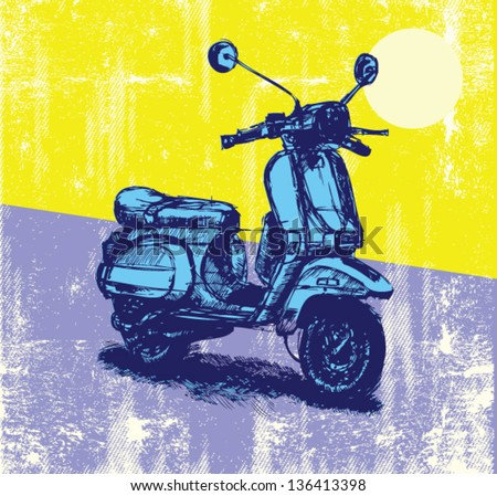 Digital illustration of an old-fashioned motor scooter - stock vector
