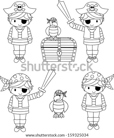Digital Illustration of Pirate Kids, Treasure Chest and Parrot - stock vector