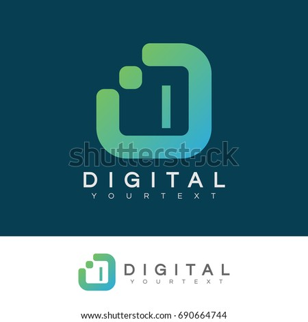 digital initial Letter I Logo design