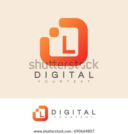 digital initial Letter L Logo design