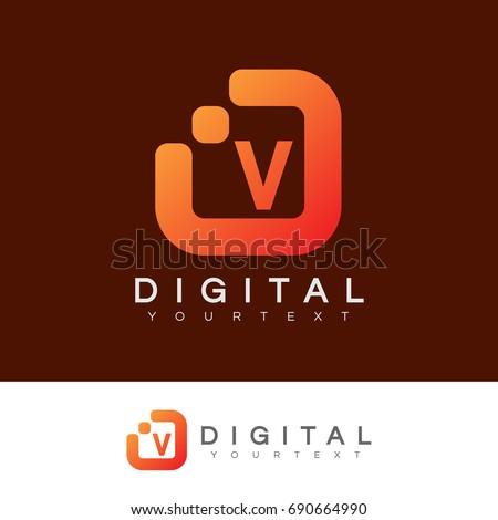 digital initial Letter V Logo design