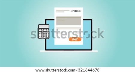 digital invoice laptop or notebook with calculator - stock vector