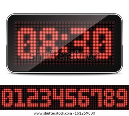 Digital LED Clock, Vector Illustration - stock vector
