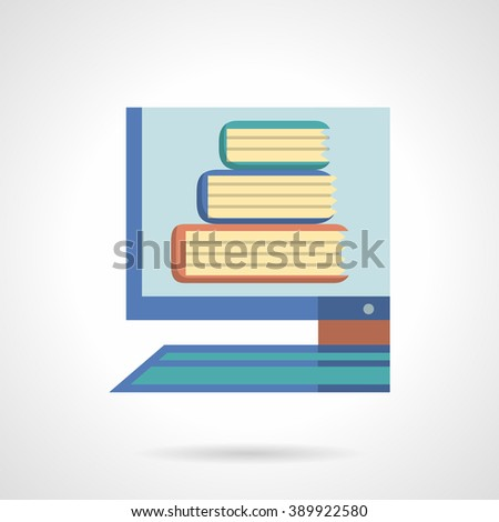 Digital library. On line books service for learning and studying. Distance education. Computer monitor with books. Flat color style vector icon. Web design element for site, mobile and business. - stock vector
