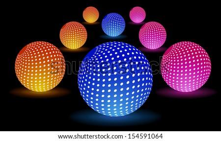 Digital Light Balls - stock vector