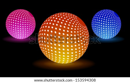 Digital light balls for your party - stock vector