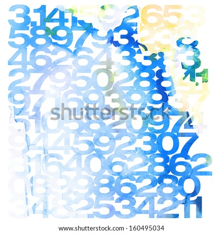 Digital light blue background. Background of watercolor numbers. Vector illustration. - stock vector