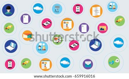 digital marketing abstract presentation template social stock vector, Digital Marketing Presentation Template, Presentation templates