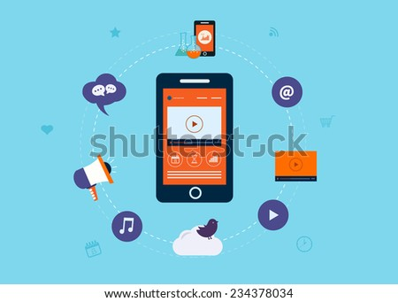Digital marketing and mobile marketing concept. Isolated on stylish blue background - stock vector