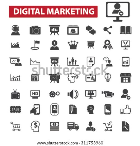 digital marketing black isolated concept icons, illustrations set. Flat design vector for web, infographics, apps, mobile phone servces - stock vector