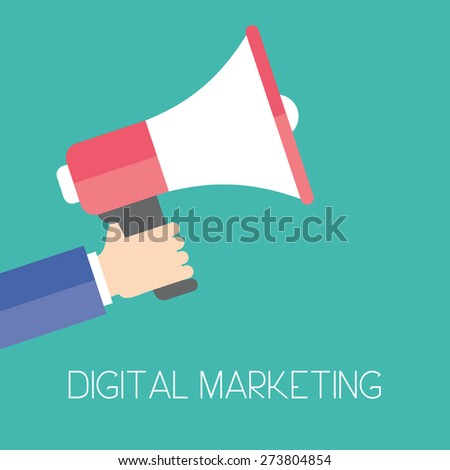 Digital marketing. Business man holding megaphone for website and promotion banners. Flat design. Business illustration concept.