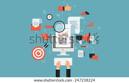 digital marketing business on line concept - stock vector