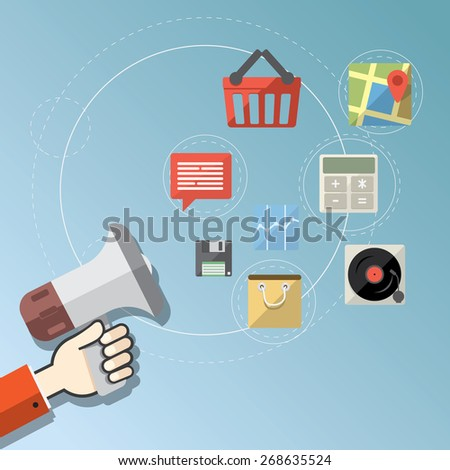 Digital marketing concept - Flat design stylish vector illustration megaphone with colorful application icons on online media - stock vector