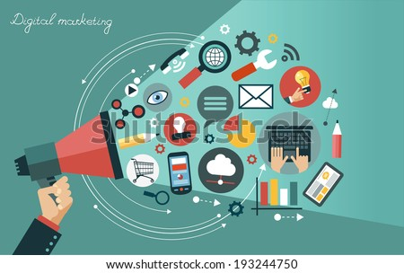 Digital marketing concept. Human hand with a megaphone surrounded by media icons   - stock vector