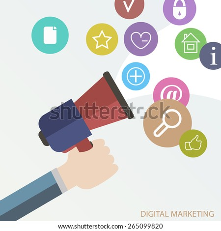 Digital marketing concept illustration for different electronic devices art - stock vector