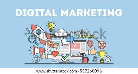 Digital Marketing Concept Poster Digital Design Stock ...