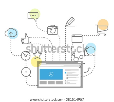 Digital marketing concept via modern digital gadget. Simple line design illustration
