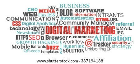 digital marketing concept word tag cloud illustration vector eps.10