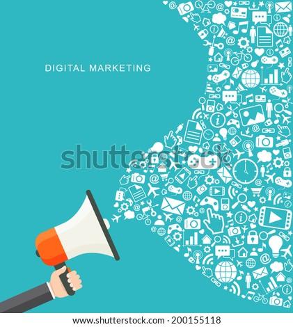 Digital marketing flat illustration. Hand holding megaphone. eps8 - stock vector