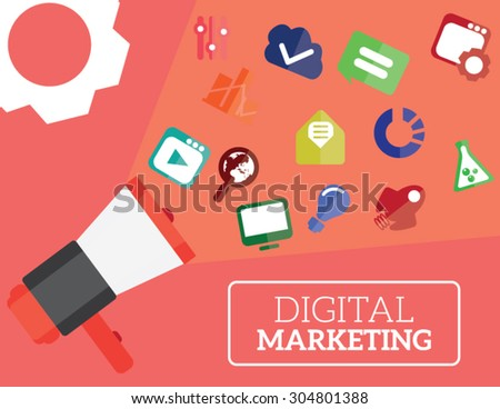 Digital marketing flat illustration speaker and icons