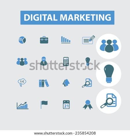digital marketing, internet marketing icons, signs set, vector - stock vector