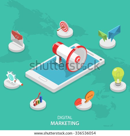 Digital marketing isometric flat vector concept. Megaphone stays on smartphone surrounded marketing icons. E-mail, video, blogging, social campaign, seo, advertising, blogging, communication. - stock vector