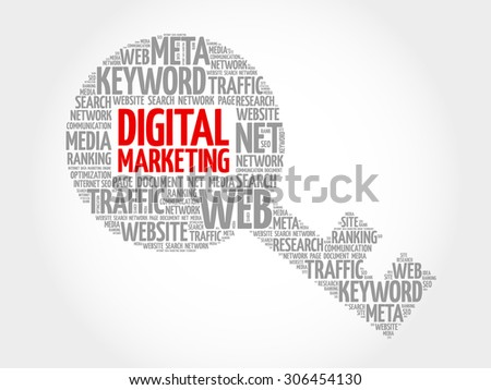 Digital Marketing Key word cloud, business concept - stock vector