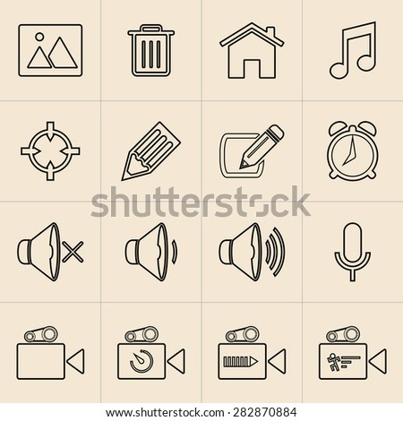 Digital marketing line icons set - stock vector