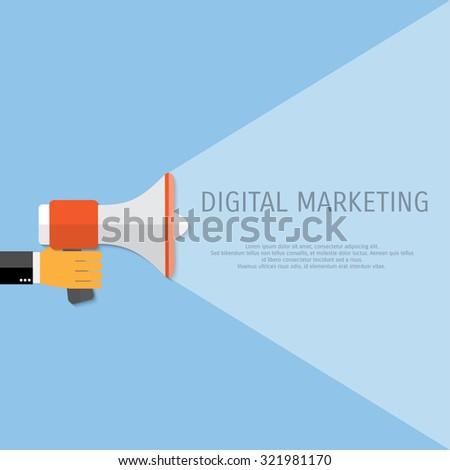 Digital marketing. Megaphone for website and promotion banners. Flat design. - stock vector