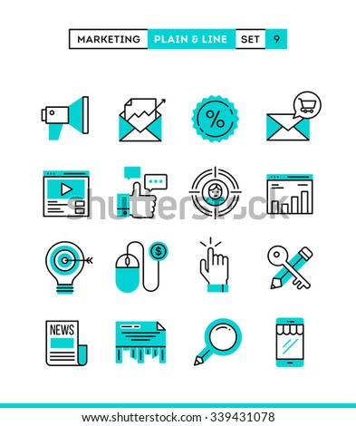 Digital marketing, online business, target audience, pay per click and more. Plain and line icons set, flat design, vector illustration - stock vector