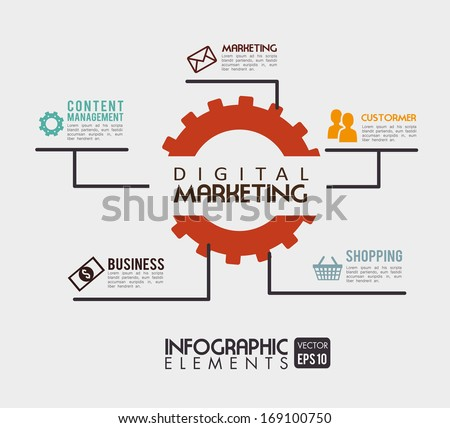 digital marketing over beige background vector illustration - stock vector