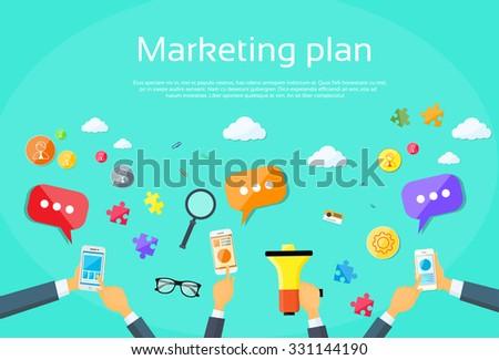 Digital Marketing Plan Creative Team Flat Vector Illustration - stock vector