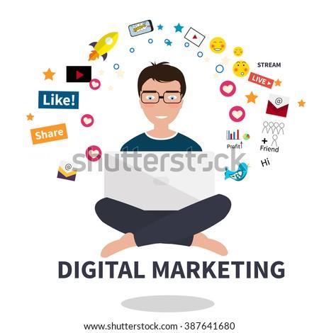 Digital marketing specialist practicing yoga - stock vector