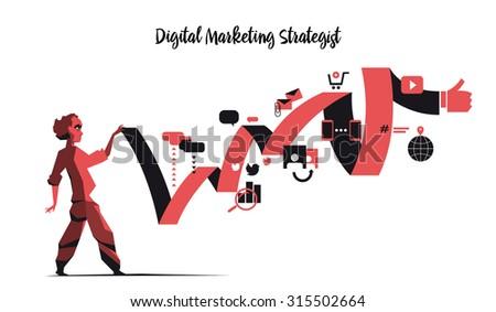 Digital Marketing Strategist - stock vector