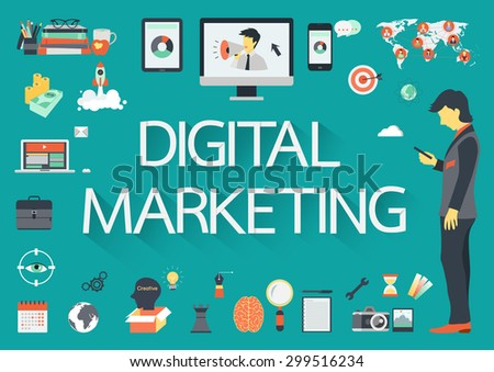 Digital Marketing vector concept with flat icons illustration for presentations and reports - stock vector