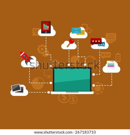 Digital marketing, vector illustration with laptop and business elements in flat style