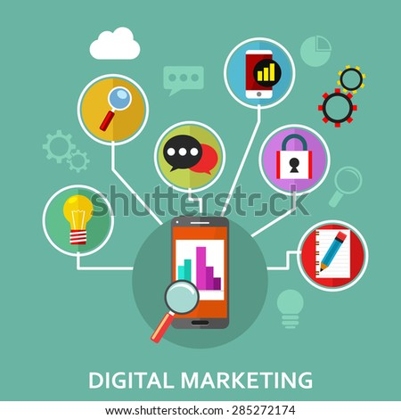 Digital marketing, vector illustration with phone and business infographic elements in flat style - stock vector