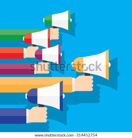 digital marketing with a megaphone concept - stock vector