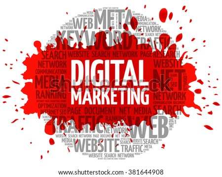 Digital Marketing word cloud, business concept - stock vector
