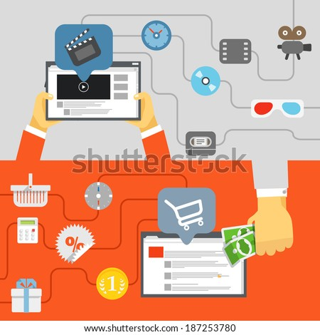 Digital media industry. Flat design concept - stock vector