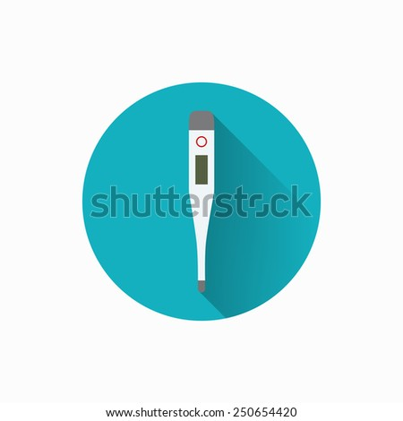 Digital medical thermometer flat icon. Health care. - stock vector