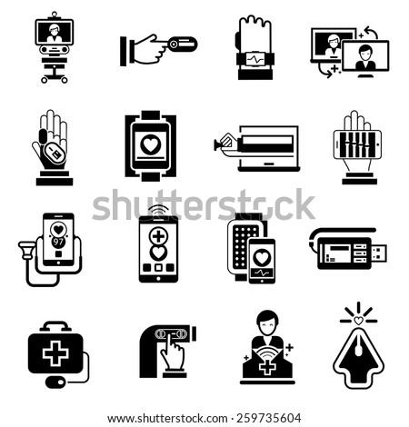 Digital medicine icons black set with telemedicine pocket monitor health control symbols isolated vector illustration - stock vector