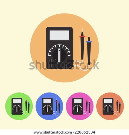 Digital Multimeter colored round icons - stock vector
