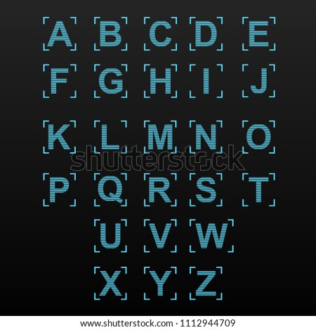 Digital Neon Alphabet Computer Font Vector Stock 1112944709