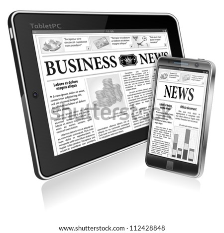 Digital News Concept with Business Newspaper on screen Tablet PC and Smartphone, vector - stock vector