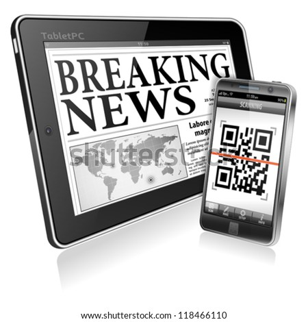 Digital News Concept with Business Newspaper on screen Tablet PC and Smartphone with Application Scanning QR Code, vector - stock vector